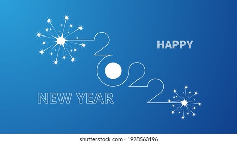 Happy new year 2022 linear design with fireworks sparks from sparklers on blue background. Vector illustration EPS 10 file