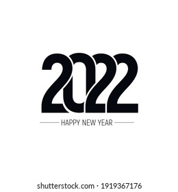 Happy New Year 2022 text design. Cover of business diary for 2022with wishes. Brochure design template, card, banner. Vector illustration. Isolated on white background.