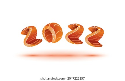 Happy New Year 2022 text design. Salmon style numbers for sushi calendar background.