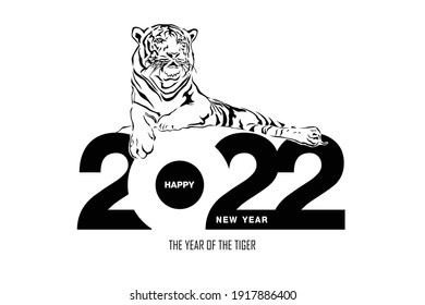 Happy new year 2022 year of tiger drawing tiger black and white lines lying on numbers 2022 for poster, brochure, banner, invitation card, vector illustration Isolated on white background.
