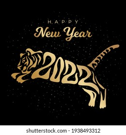 Happy New year 2022. The year of the tiger of lunar Eastern calendar. Creative tiger logo and number 2022 on a black background. Happy New Year Greeting Card.