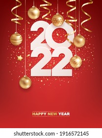 Happy new year 2022. White paper numbers with golden Christmas decoration and confetti on  red background. Holiday greeting card design.