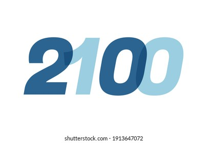 Happy New Year 2100 Text Design. 2100 Number logo design for Brochure design template, card, banner Isolated on white background. Vector illustration
