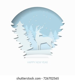Happy new year 3d abstract paper cut illlustration of christmas tree, deer and snow. Vector colorful greeting card template in carving art style. Eps10.