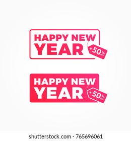 Happy New Year 50% Off Offer Shopping Tags