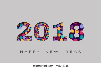 happy new year, abstract design 3d, 2018 vector illustration,Layered realistic, for banners, posters flyers