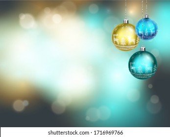 Happy new year. Abstract greeting background with bokeh, lights and christmas ball. Bright positive color. Vector.