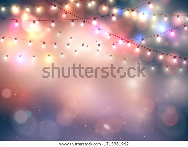 Happy new year. Abstract greeting background with bokeh, lights and christmas garland. Bright positive color. Vector.