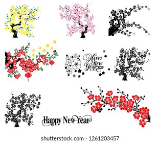 happy New year asia flower vector