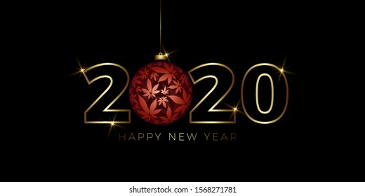 Happy New Year Background with cannabis Christmas ball vector illustration