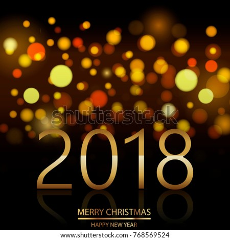 happy new year background with defocused night lights vector