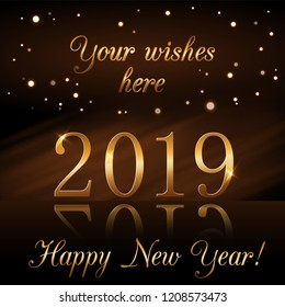 happy new year background gold numbers 2019 card christmas design with light vibrant