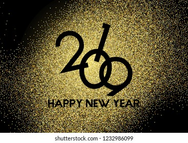 Happy New Year background with gold glitter design