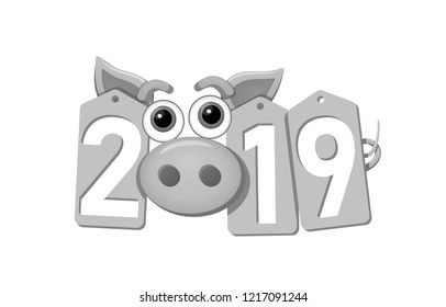 Happy New Year background. Pig face, silver sale tags. 2019 flat numbers. Piggy snout. Chinese design decoration, celebration card, Christmas discount. Cartoon piglet nose Vector Illustration