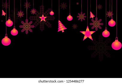 Happy New Year background.New Year snowflakes and balls on a black background