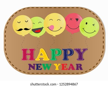 happy new year balloon cartoon vector