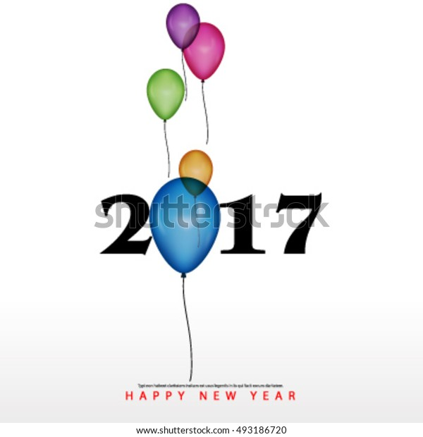 Happy New Year with Balloons Layout/Design Cover Background