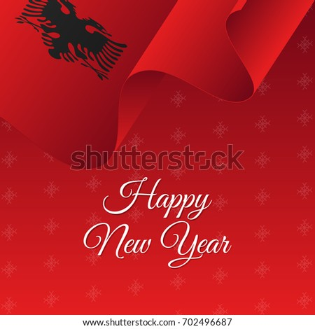 happy new year banner albania waving flag snowflakes background vector illustration