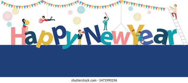 Happy new year banner with cartoon character flat icon style in white background vector