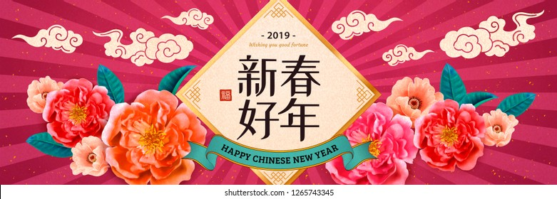 Happy New Year banner in Chinese word on spring couplets with peony flowers on fuchsia striped background