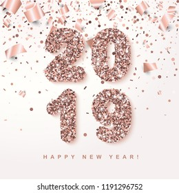 Happy New Year Banner with glowing Rose Gold 2019 Numbers on white Background with falling geometric and foil paper Confetti. Vector illustration. All isolated and layered