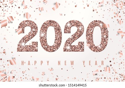 Happy New Year Banner with glowing Rose Gold 2020 Numbers on white Background with Flying geometric and foil paper Confetti. Vector illustration. All isolated and layered