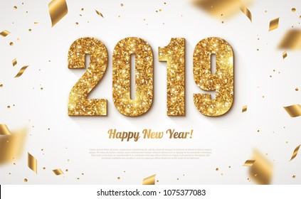happy new year banner with gold 2019 numbers on bright background with flying confetti vector