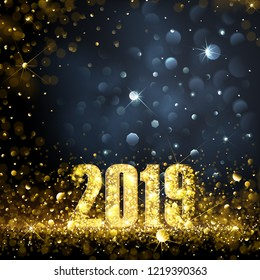 Happy New Year Banner with Gold 2019 Numbers on Bright Background. Vector illustration.