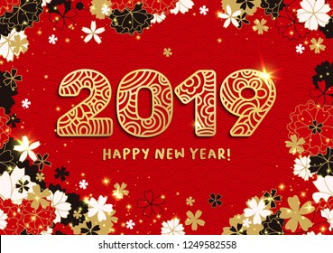 Happy New Year Banner with Gold 2019 Paper Cutting or Laser Cut Numbers on Bright Red Background with Sakura and Stars. Gloden Vector Japanese or Chinese illustration.