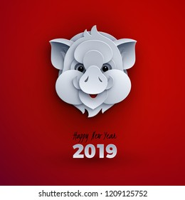 Happy new year banner, head of the pig, animal symbol of 2019, congratulation text. Celebration red background for your poster, greeting card, banner design, paper cut out style, vector illustration