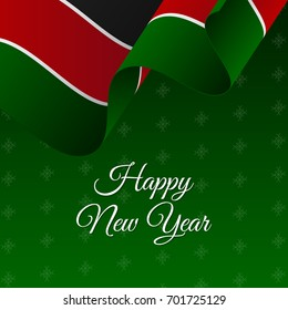Happy New Year banner. Kenya waving flag. Snowflakes background. Vector illustration.