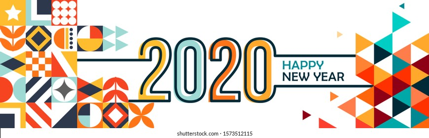 happy new year banner with modern geometric abstract background in retro style. happy new year greeting card design for year 2020 includes colorful abstract shapes. Vector illustration