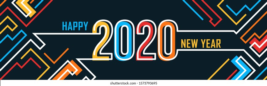 happy new year banner with modern geometric abstract background having colorful lines. happy new year greeting card design for year 2020 includes colorful abstract pipelines. Vector illustration