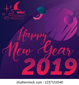 Happy New Year banner. Moon and space illustration