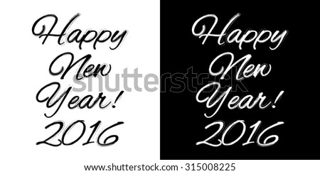 happy new year banner on a black and white background vector illustration