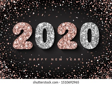 Happy New Year banner with Rose and Silver 2020 Numbers on black background with flying confetti. Vector illustration. All isolated and layered
