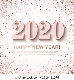 Happy New Year Banner with shining rosiness 2020 Numbers on white Background with scattered geometric Confetti. Vector illustration. All isolated and layered
