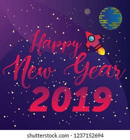 Happy New Year banner. Spaceship in the space. Earth globe, moon and stars illustration background