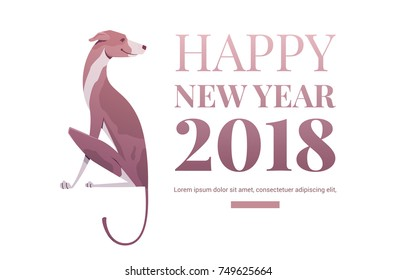Happy new year banner template. Dog symbol of the year 2018