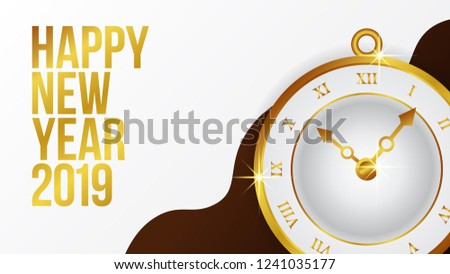 happy new year banner template with classic gold clock time vector illustration