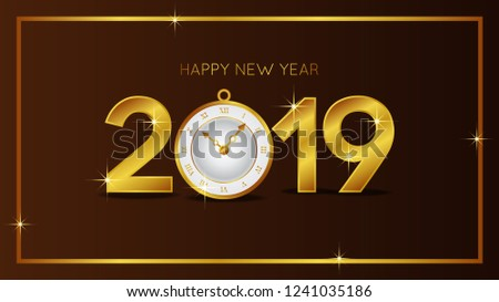 happy new year banner template with gold number and classic gold clock