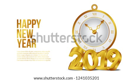 happy new year banner template with 3d gold number and classic gold clock