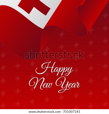 happy new year banner tonga waving flag snowflakes background vector illustration