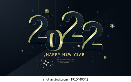 Happy new year banner. Vector illustration of a happy new year in gold and black colors. Beautiful inscription. Background for the holiday.