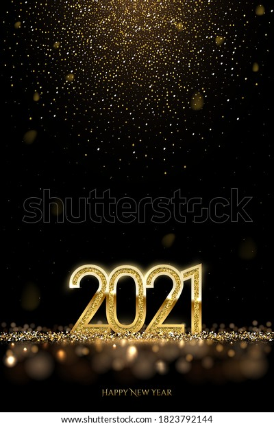 Happy new year banner vector template. Winter holiday, christmas congratulations. Festive postcard, luxurious greeting card concept. 2021 number with golden glitter illustration with text space