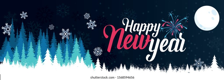happy new year banner with winter landscape background. happy new year greeting card design includes snowflakes, fireworks, xmas trees and moon. Vector illustration