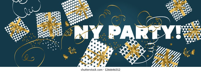 Happy New Year banner. Xmas gifts scattered in horizontal header. Horizontal Christmas posters, greeting cards, headers, website. Abstract simple Christmas flat lay design, top view