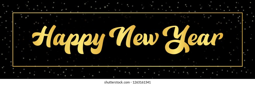 Happy New Year black background with golden gift bow and glittering stars. Gold decoration with glowing neon number. Vector winter holiday greeting card template. - Vector
