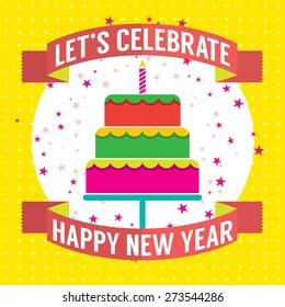 Happy New Year Cake Vector Illustration