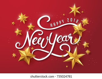 happy new year with calligraphic text with golden star.Vector illustration template.greeting cards.